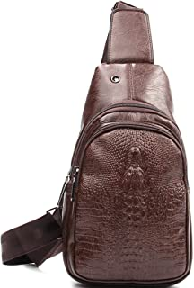 Chest Sling Backpacks - Small PU Crossbody Backpack Outdoor Shoulder Bag with embossed Crocodile Texture for Women & Men CRW0126-ZONG
