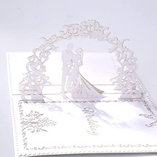 Paper Spiritz Pop up Wedding Cards Anniversary, 3D Pop up Wedding Card for Wife, 3D Valentine's Day Card, Anniversary, for Wife, with Envelopes, Wedding Invitations Blank Greeting Cards(White)