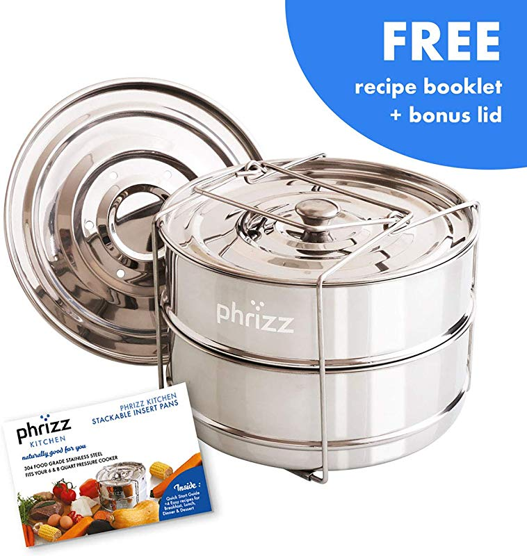 Phrizz Kitchen Stainless Steel Stackable Steamer Insert Pans With Sling For 6 8 Quart Electric Pressure Cooker Or Instant Pot Accessories 2 Interchangeable Lids Best For Cooking Steaming
