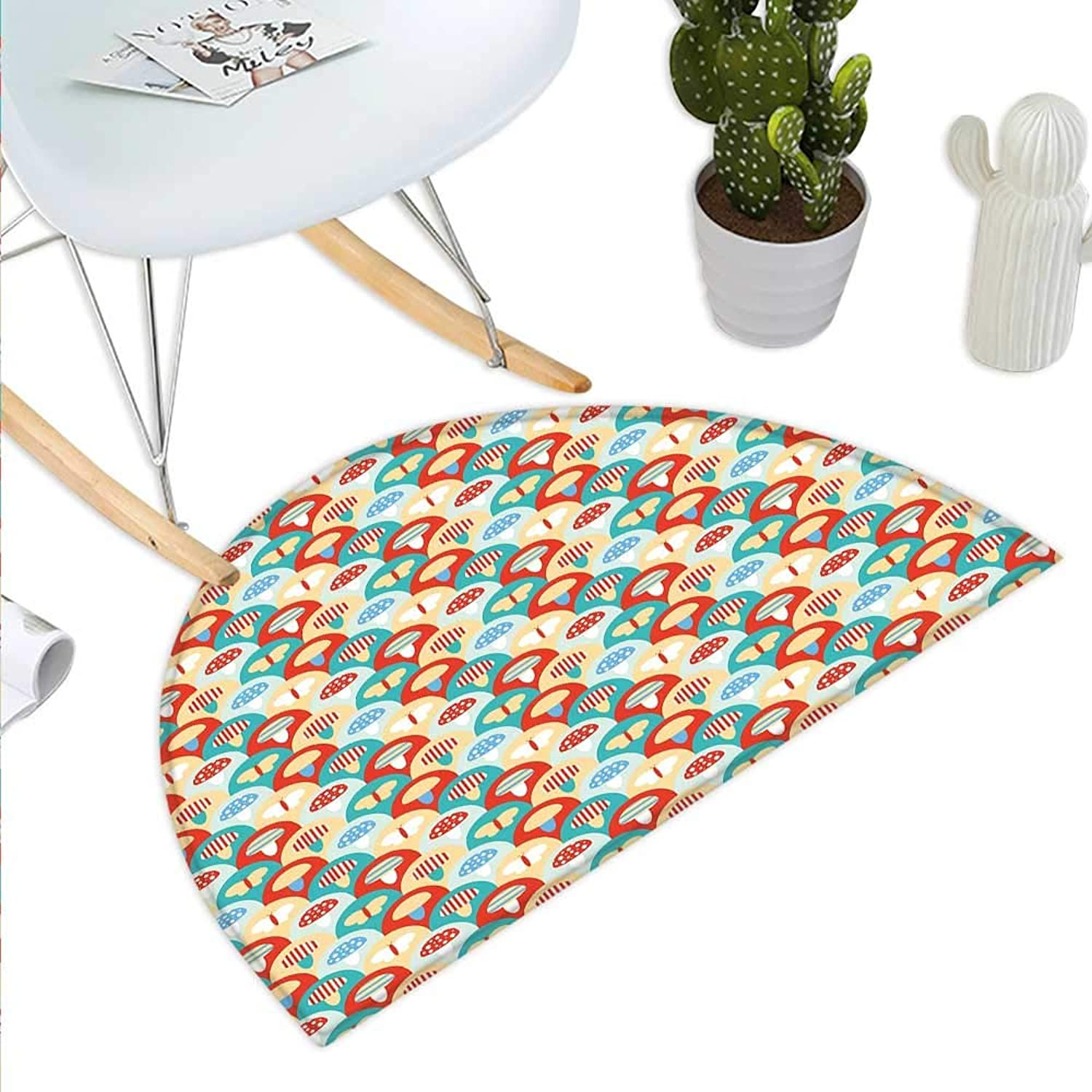 Mushroom Semicircle Doormat colorful Abstract Cartoon Style Retro Composition with Toadstools and Butterflies Halfmoon doormats H 35.4  xD 53.1  Multicolor