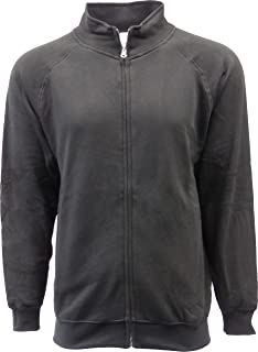 Men's Full Covered Zipper Fleece Sweatshirt Jacket with Mock Cadet Collar & Sides Zippers Pockets
