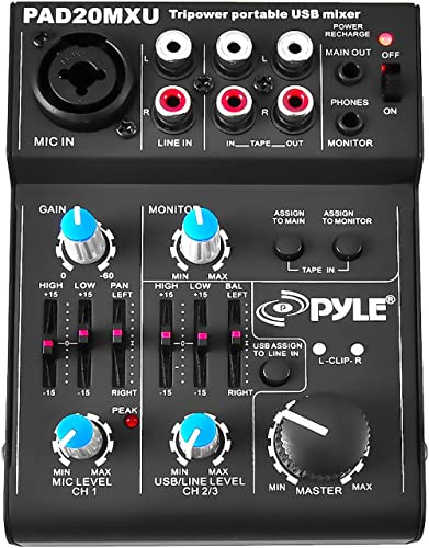 5 Channel Audio Mixer - DJ Sound Controller Interface with USB Soundcard for PC Recording, XLR 3.5mm Microphone Jack,...