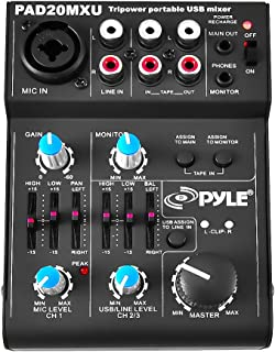 5 Channel Audio Mixer - DJ Sound Controller Interface with USB Soundcard for PC Recording, XLR 3.5mm Microphone Jack, 18V Power, RCA Input and Output for Professional and Beginners - Pyle PAD20MXU