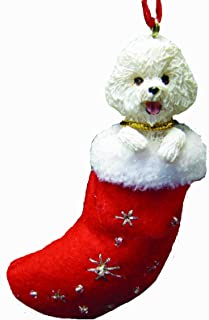 Bichon Frise Christmas Stocking Ornament with