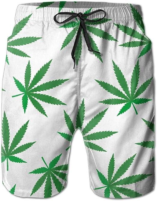 Swim Trunks Summer Beach Shorts Pockets Multi Color Trippy Marijuana Leaf Weed Boardshorts for Men Youth Boys