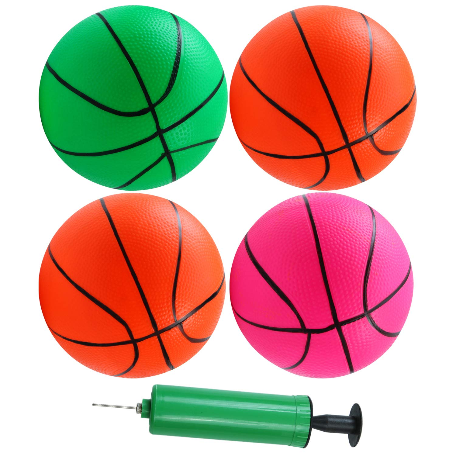 5 PCS with 1 Air Pump Teenager Basketballs BESTTY 6 Inches Colorful Toddler Kids Replacement Mini Toy Basketball Rubber Baketball for Kids