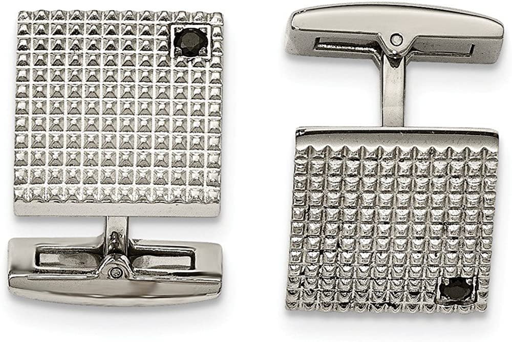Stainless Steel Polished Texture Black CZ Cubic Zirconia Cuff Links