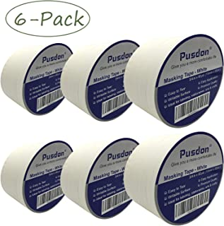 Pusdon Masking Tape White 30 Rolls, 6 Pack, Each Roll 3/4-Inch x 60 Yards, Ideal for School, Office, Labeling, Arts & Crafts Use