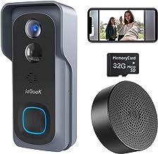 ieGeek WiFi Video Doorbell Camera, Wireless Smart Door Camera with Motion Detection, 32GB Pre-Installed, 6700mAh Battery, 2-Way Audio, IP66 Waterproof, Night Vision, USB Indoor Chime Included