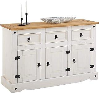 IDIMEX Buffet Campo Commode bahut vaisselier en pin Massif Blanc et Brun avec 3 tiroirs et 3 Portes, Meuble de Rangement S...