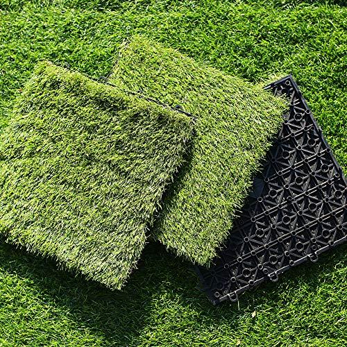 S SIENOC Kunstrasen Fliesen Grasmatte Klickfliesen Rasenfliese Terrassenfliese 30x30cm für Balkon Garten, mit Abfluss (2x Kunstrasen 30 * 30cm)