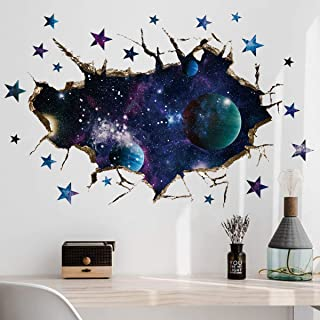 Wall Decal Earth Moon Space Planet Galaxy Cracked 3d Wall Sticker Stars Mural Decal Graphic Wall Art Boys Bedroom Wall Sticker MYS567