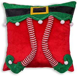 Valery Madelyn Delightful Elf Christmas Pillow Covers 18x18 inch with 3D Elf Pattern, Themed with Tree Skirt (Not Included)