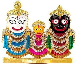 Saubhagya Global Beautiful Gold Plated Idol of Lord Jagannath, Balaram & Subhadra for Living Room, Study Room, Office, Cor...