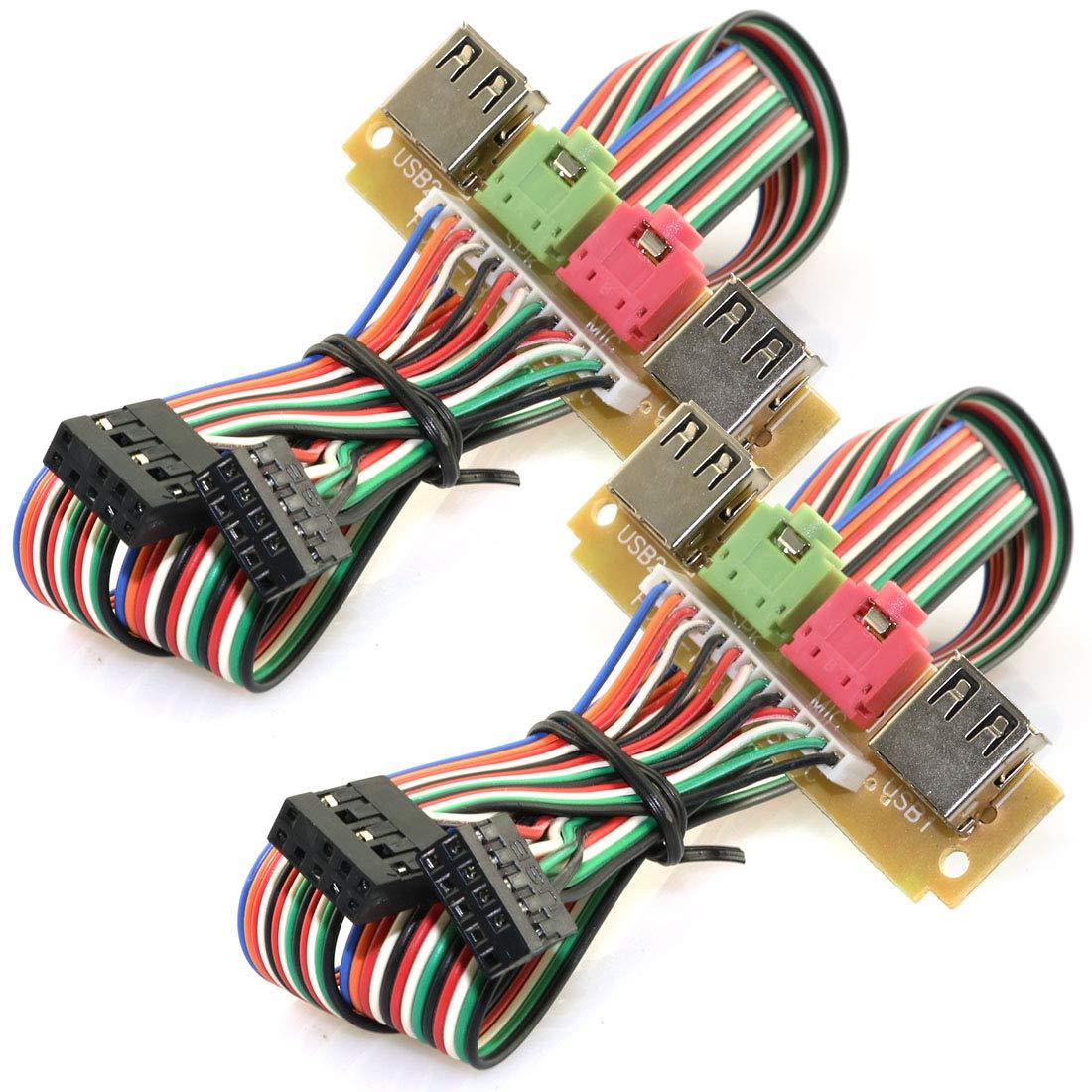 ToToT 2pcs USB Front Panel Cable HUB Computer Chassis Front Panel Desktop Audio Port Mic Earphone Cable Gadget 70cm Universal Edition