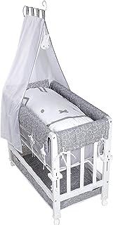 roba Babysitter Lit bébé 3 en 1 miffy laqué blanc utilisable comme lit d'appoint pour lit parental, lit et banc avec matel...
