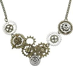 RechicGu Vintage Gold & Silver Watch Clock Clockwork Hand Gear Cog Steampunk Necklace