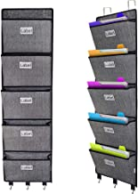 Over the door File Organizer, Hanging Wall Mounted Storage Holder Pocket Chart for Magazine,Notebooks,Planners,Mails,5 Extra Large Pockets Black with pattern