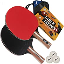 Rivon Table Tennis Paddle - Ping Pong Racket Set - 2 Paddles with 3 Balls and Travel Case - ITTF Approved or Semi-pro Rubber - Endorsed by Celebrity Player