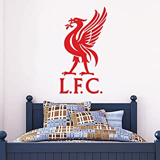 Official Liverpool FC Official Liver Bird Wall Sticker + LFC Decal Set Vinyl Poster Print Mural (Red, 90cm Height)