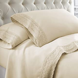 Amrapur Overseas 4-Piece Crochet Lace Bed Sheet Set, Queen, Linen