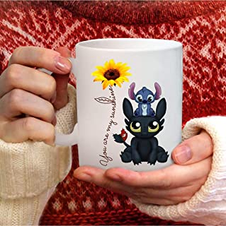 You Are My Most Beautiful Sunshine Stitch And Toothless Printed Coffee Mug - 11Oz White Ideal Gift For Your Son Daughter Kids Children In Christmas Birthday Children's Day