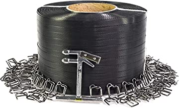 "PAC Strapping SP-W-AMZ Plastic Strapping Kit, 3000' Length x 1/2"" Wide, 300 Wire Buckles & Tensioner Tool, Black"
