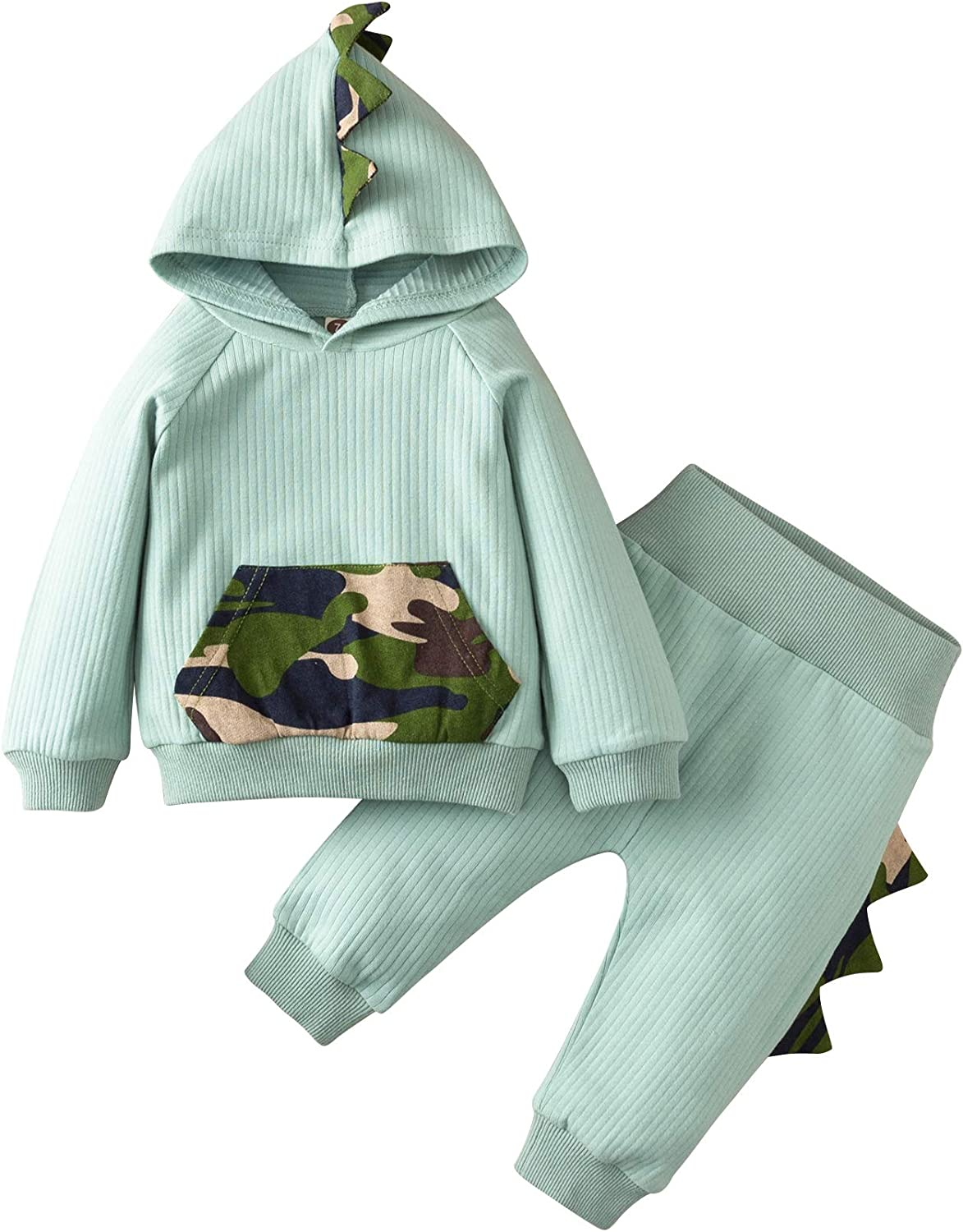 YHLZBNH Baby Hoodie Clothing Set Cute Warm Toddler Infant Fall Winter Unisex Cotton Outfits Dinosaur-Shape T-Shirt and Pants