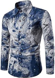 Camisa Impresa Casual para Hombre Camisas de Manga Larga de Paisley Funky con Estampado de Lino Camisa de Vestir con Boton...