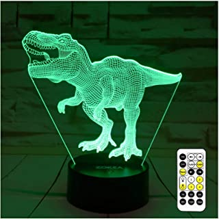Dinosaur Toys, T Rex 3D Night Light 7 Colors Changing Night Lights for Kids with Timer & Remote Control & Smart Touch, T R...