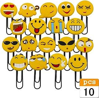 Cute Emoji Bookmarks, Funny Paperclip Bookmark, Novelty Emoticon Book Marker for Kids, Girls, Boys, School Student (Random 10PCS)