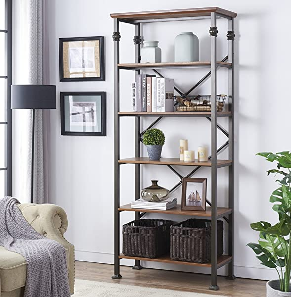 O K FURNITURE 6 Tier Industrial Style Bookcase Vintage Free Standing Bookshelf 76 X 32 7 X 16 1 Maple Finish