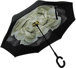ALINK Inverted Umbrella, Reverse Folding Double Layer Inside Out Outdoor Rain Away Car Umbrella - White Gardenia