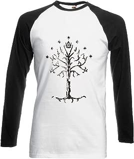 PatPat Store White Tree of Gondor Lord of Rings Novelty Black/White Men Women Unisex Long Sleeve Baseball T Shirt