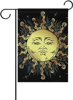 MASSIKOA Boho Golden Sun Stars Astrology Magic Symbol Pattern Garden Flag Double-Sized Print Decorative Holiday Home Flag ...