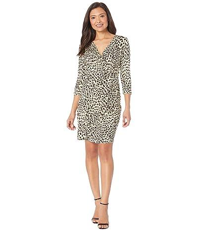 Karen Kane Cascade Wrap Dress (Cheetah) Women