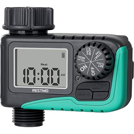 RESTMO Sprinkler Timer, Programmable Water Timer for Garden Hose, Outdoor Faucet, Drip Irrigation and Lawn Watering System, Compact Design | Automatic Digital Control | Manual ON/Off | Rain Delay
