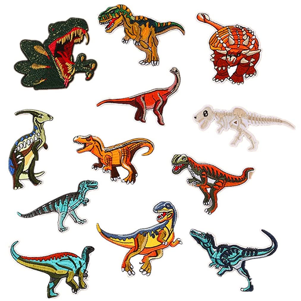 Assorted 12pcs Triassic Jurassic Cretaceous Dianosaur Iron On Patches Sew On Embroidered Appliques DIY Motif for Clothing Decoration