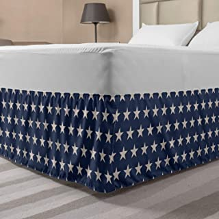 Ambesonne Star Elastic Bed Skirt, Patriotic Star of The American Flag Independence Themeds of Freedom, Wrap Around Fabric ...