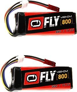 Venom Fly 30C 3S 800mAh 11.1V LiPo Battery with JST Plug x2 Pack Combo - Compare to E-flite EFLB8003SJ30