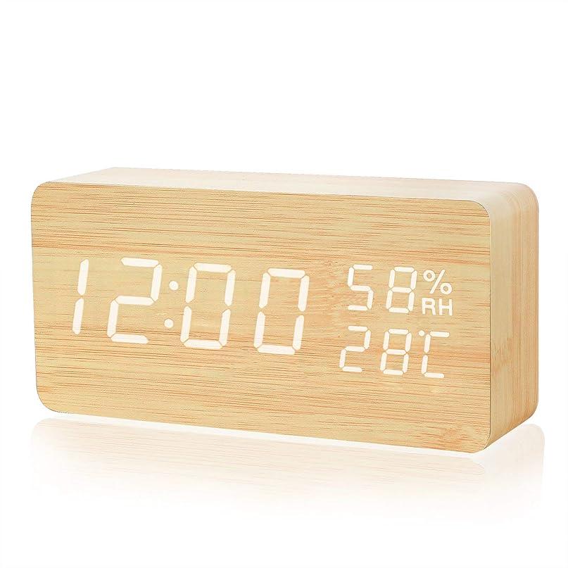 名前を作る知覚司法Crzko 置き時計 目覚まし時計 大音量 音声感知 デジタル おしゃれ LED 多機能 アラーム カレンダー 温度湿度 木目調 USB/電池給電 省エネ 卓上寝室台所用 (カラー1)