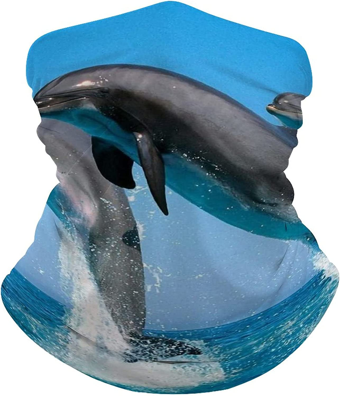 Animal-Dolphins Multifunction Face Mask Bandanas Balaclava Scarf 3D Printed Headwear Neck Gaiter Men Women, for Music festivals Traveling Hiking Biking Fishing Camping