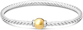 Beach Ball Twist Bracelet from Cape Cod Two-Tone 14k Solid Ball Gold and 925 Sterling Silver Bangle