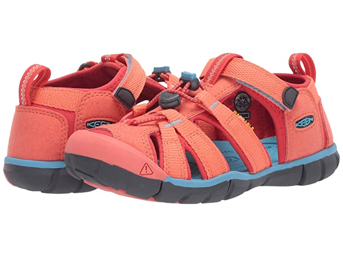 Keen Kids  Seacamp II CNX (Little Kid/Big Kid) (Coral/Poppy Red) Girls Shoes