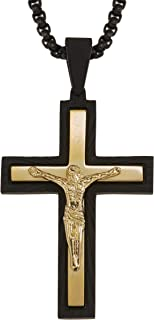 AX Jewelry Mens Crucifix Cross Pendant in Stainless Steel