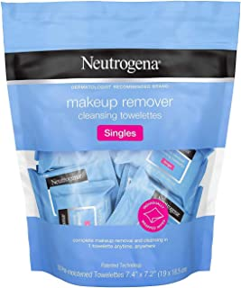 Neutrogena Makeup Remover Cleansing Towelette Singles, Daily Face Wipes To Remove Dirt, Oil, Makeup & Waterproof Mascara, Individually Wrapped, 20 Count (Pack of 2)