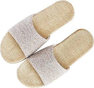 [Wakind] ルームシューズ メンズ レディース 夏春 スリッパ 室内履き 静音で軽量 麻 可愛い 滑り止め 来客用