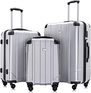 Yileiduo , Luggage Sets with TSA Locks, 3 Piece Lightweight P.E.T Luggage-Silver