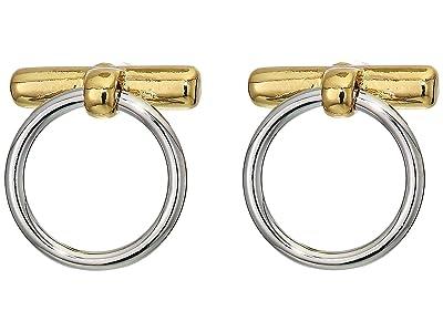 Rebecca Minkoff Interlocking Ring and Bar Studs Earrings (Gold/Rhodium 1) Earring