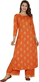 738f08c3592 Dee Desi Women s Rayon Gold Print Gota Lace Work Straight Kurta and Palazzo  Set